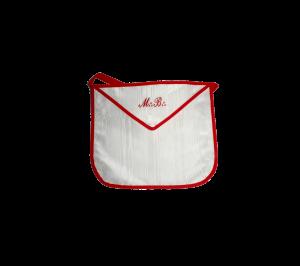 "grembiule in seta bianco bordi rossi ricamo ""m b"""