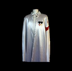 mantello cavaliere templare in seta bianco con inserti in metallo