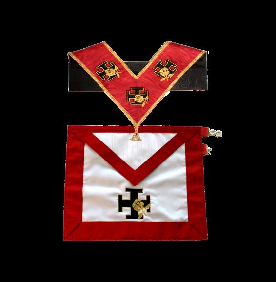 completo: grembiule in seta bianco, bordi rossi. collare rosso, bordi dorati, ricamato con gioiello in metallo. rito rosacroce per 18°.