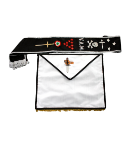 completo: grembiule in seta bianco con bordi neri. fascia nera con bordi argento, ricamato con gioiello in metallo, per 9° rsaa