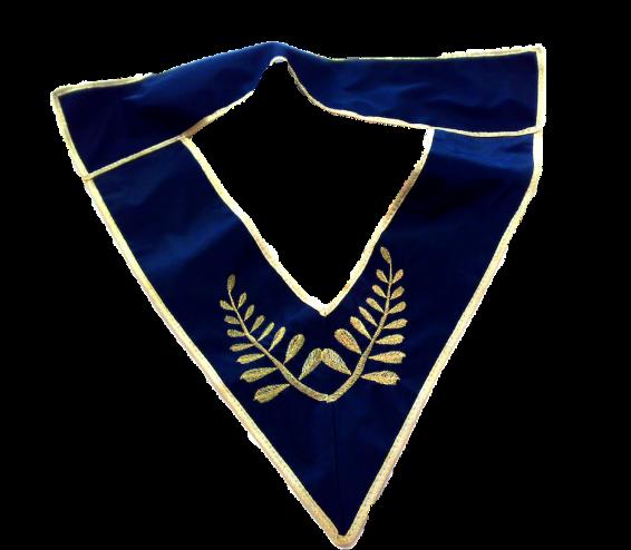 """collare dignitario in cotone blu bordi oro, ricama """"foglia acacia"""""""