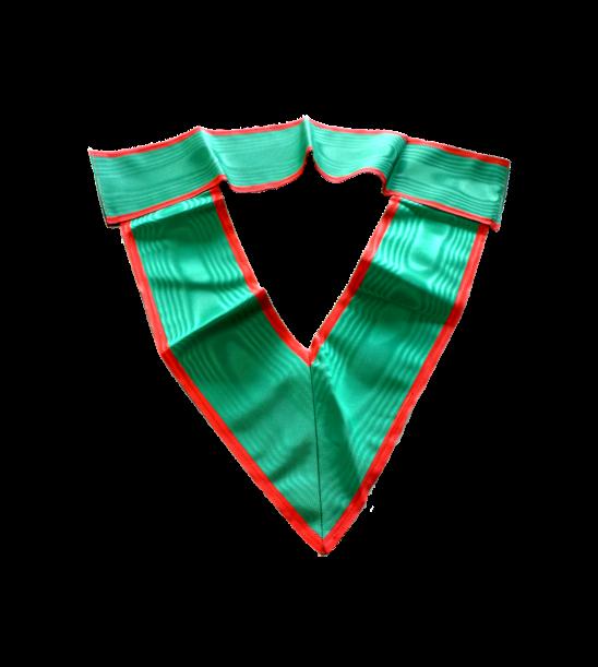 collare dignitario, in seta verde con bordi rossi