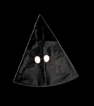 buffa/cappuccio nero in seta, contorno occhio rosso