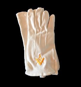 guanti bianchi in cotone con bottone, ricamati