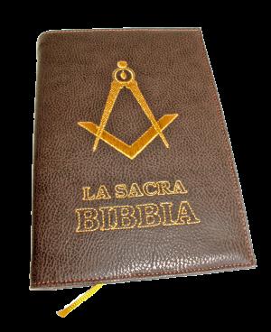 """bibbia in eco-pelle ricamata in oro """"squadra e compasso"""""""