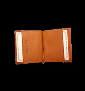 portasoldi a molla in pelle con portacarte di credito