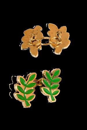 """gemelli """"foglia acacia"""" in metallo, a catena color oro e verde"""
