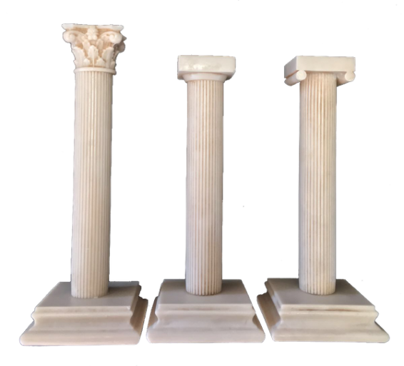 trittico colonnine di loggia in marmo
