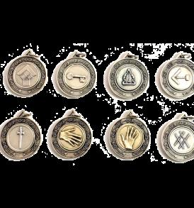 set medaglie in metallo per ufficiali di loggia