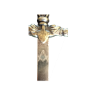 """particolare di lama spada incisa con """"squadra e compasso"""""""