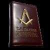 """bibbia in eco-pelle ricamata con simbolo """"squadra e compasso"""""""
