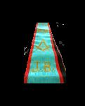 """fascia in seta azzurra con bordi rossi, ricamata """"squadra e compasso"""", """"jb"""" con coccarda e gioiello in metallo """"squadra e compasso"""""""