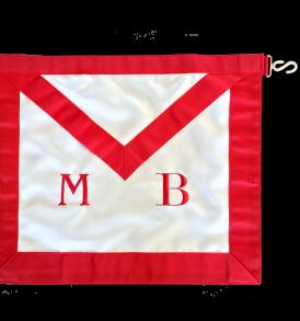grembiule bianco in tessuto con bordo rosso, ricamato