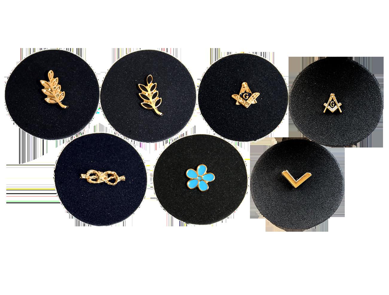 Spillapins da giacca in metallo, diversi simboli